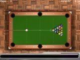 Классическая игра в восьмёрку. Каждый забивает шары своего цвета и последним чёрный восьмой шар.