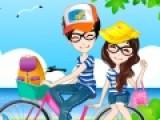 Влюбленная парочка отправилась на велосипедную прогулку. Подберите одежду для девочки и мальчика, что бы они выглядели не только модно и красиво, и им было удобно ездить на велосипеде.