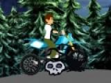 Бен 10 решил прокатиться ночью в преддверие Хеллоуина на своем мотоцикле. Правда гонщик он не очень хороший. Только ты сможешь  ему в этом помочь. Используй стрелочки на клавиатуре, что бы помочь Бену 10 добраться до финиша и не перевернуться.