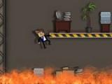 Наш герой не обратил внимание на табличку Не курить и теперь по его вине загорелось здание. Единственный шанс спастись - это быстро подняться на самую крышу этого небоскрёба и потом спуститься вниз по пожарной лестнице.