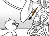 В этой игре вам необходимо разрисовать раскраску, на которой изображены дети после ванной.
