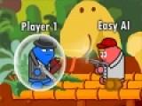 Перед Вами прикольная стрелялка с очень яркой графикой и высокой динамикой происходящего. Что бы выиграть, необходимо уничтожать атакующих вас соперников и собирать бонусы. Если Вы не успеете собрать бонус, его получит враг и станет сильнее. Используйте стрелочки для управления персонажем и кнопки Z и X, что бы стрелять и раскладывать мины.