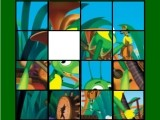 Еще одни «пятнашки» с персонажами мультфильма «Лунтик». Любящий играть на интсрументах Кузя собрал в одну кучу все инструменты оркестра, и они накрыли его с головой. Помоги маленькому музыканту привести все в порядок!