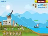Вашу крепость на острове окружил пиратский флот! Однако в Вашем распоряжении есть грозное разрушительное оружие - гигантская рогатка, с помощью которой Вы должны отстоять родной остров!