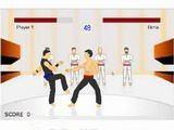 Неплохой поединок между мастерами карате! На заработанные деньги можно прокачать своего бойца.