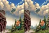 Найдите 10 отличий на картинках из комикса про Робин Гуда и летающую тарелку. Вы сами выбираете как развиваться сюжету. Для перехода на новый уровень достаточно найти 5 отличий.
