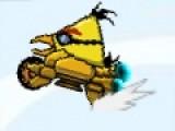 Цель этой игры, где злые птицы ездят на авто, помочь им добраться как можно дальше. Для этого используйте стрелочку вниз, что бы изменять гравитацию на участке и ехать по верхним или нижним блокам. Ловкость и скорость реакции пригодятся Вам в этой игре.