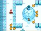 Помоги мороженому существу обойти всех монстров и собрать все фрукты. Передвигается он при помощи стрелок. А если нажимать на пробел, то это существо будет разбивать или наоборот строить ледяные стены.
