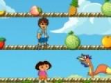 В этой яркой  и очень интересной игре Даша и Диего собирают фрукты. Но хитрый лисенок хочет им помешать. Помоги друзьям избежать столкновения с лисом. Для этого используй свою мышку. Передвигай ее, что бы герои двигались. А если захочешь подняться или спуститься на другой уровень, нажимай левой кнопкой мыши на это место.