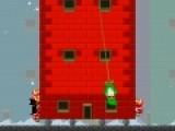 В этой игре Вам предстоит обороняться от нападающих гномов. Что бы вызвать подмогу с воздуха используйте кнопку Shift, что бы кинуть кирпич, нажимайте на пробел. Расшатывать дом и тарзанку - используйте стрелки влево и вправо.