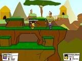 Сразитесь на арене против хорошо вооруженных бойцов. Игра напоминает Unreal Tournament только в 2D. Старайтесь сбросить противника выстрелами в пропасть и не погибнуть самому, набирая фраги. Стрелять - [, закладывать бомбу - ]. Удачи!