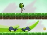 Эта игра о том, как пришелец пытается попасть к своем улетающему кораблю. Он должен преодолеть огромное количество препятствий. Твоя задача помочь ему. Включи логику, что бы не проиграть. Используй кнопки WASD или стрелки, что бы управлять персонажем. При помощи мыши прицеливайся и стреляй. Собери по дороге к кораблю максимум золотых монеток.