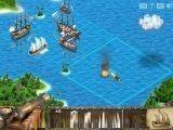 Очень красивый морской бой в тропических широтах с парусными кораблями. Вероятно, великие морские державы опять не поделили какой-нибудь остров.