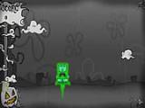 Спанч Боб временно стал призраком в канун праздника Хэллоуин. Его цель подпрыгивать так высоко, чтоб достичь вершины. Так что в этом игра напоминает Дудл Джамп. Избегайте опасных объектов и подбирайте те предметы, которые добавят ускорения.