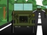 Армейский автомобиль - это конечно не совсем гоночная машина, но тем не менее если он наберет скорость, то остановить его почти не возможно! Обгоните соперников на этом треке!