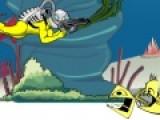 Подводный мир не такой уж и безопасный, но сумасшедшему Джеку все ни по чем. Помогите ему отбить атаку нападающих пираний.