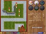 Стройте различные оружейные башни, чтобы не дать пробраться к замку с принцессой многочисленным завоевателям. Управление мышью.