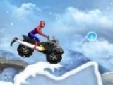 Человек Паук опять должен спасти мир. Он мчится на своем супер скутере по заснеженному бездорожью. Помоги ему проехать весь путь, как можно быстрее, и не перевернуться. Так же собирай бонусные шары по пути.