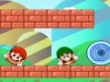 Братья Марио и Луиджи хотят скрыться от кровожадного дракона, который стреляет в них огненными камнями. Воя задача помочь им спрятаться за баррикадами. Для этого используй физические свойства предметов, которые даны в помощь для решения этой головоломки.