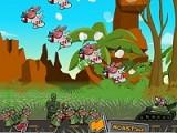 Во время войны часто использовали войск смертников - камикадзе. На этот раз в их роли выступают свиньи. Направьте самолет или другое летательное средство со свиньей в самую гущу врага, чтоб нанести ему максимальный урон!