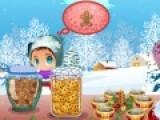 На Северном полюсе где живет Санта зима почти никогда не заканчивается. Потому Санта Клаус Решил открыть лоток в котором будет раздавать детворе вкусное печенье и горячий шоколад, что бы им небыло очень холодно. Помоги Санте обслуживать детей. Каждый ребенок хочет разные сладости. Постарайся не перепутать их.