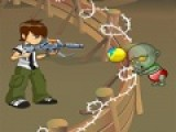 В этой игре ты должен будешь помочь Бену 10 отбить атаку кровожадных  зомби. Что бы зомби не пробились сквозь забор Бен 10 убивает их. Твоя задача помочь ему прицеливаться и перезаряжать вовремя оружие.