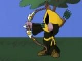 Попробуйте свои способности в стрельбе из боевого лука. ваша задача поразить противника стрелой. При помощи мыши выберите угол и силу выстрела.