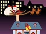 В этой игре тебе придется помочь Деду Морозу доставить подарки. Сюрпризы достанутся только послушным детям. Их дома помечены коробочкой с подарком. Управляй перемещением колесницы при помощи стрелочек, а подарок скинуть можно при помощи пробела. Избегай дымовых туч.