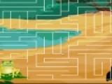 Зеленой лягушке необходимо пройти через лабиринт, что бы добраться до вкусных комариков. Ваша задача помочь ей не заблудиться. Перетаскивайте при помощи компьютерной мыши шарик, что бы найти выход их лабиринта.