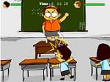 Вступи в перестрелку с школьным учителем, бросая в него мел, уворачивайся от брошенных им предметов и не забывай пополнять боеприпасы, которые подносит твоя соученица.