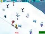 Играя за Губку Боба, ты катишься вниз по склону, уходя от лавины и не забывай помогать маленьким лыжникам.