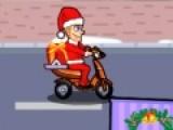 Эта праздничная новогодняя игра о том, как Санта Клаус решил стать немного современнее и сменил северных оленей на скоростной мотоцикл. Помоги ему доставить все подарки на оживленной трассе.  Используй стрелки для управления байком. А когда появится ребенок, и Санта должен будет подарить ему подарок, нажимай на пробел.