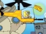 В этой игре Спанч Боб летит на вертолете. На его пути встречаются куски сыра. Ваша задача помочь Губке Бобу сделать бургеры из этого сыра. Для этого он должен стрелять из волшебной пушки, превращающей сыр в бургеры. Управляйте полетом и выстрелами своей мышкой.