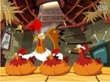 Игра в наперстки в курином антураже. Вместо наперстков - куры, а шарик, конечно же яйцо!