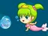 Помогите Русалочке вернуть своего принца. Для этого собирайте жемчуг и делайте из него короны. 99 жемчужин = 1 корона. Управляйте русалкой при помощи стрелочек на клавиатуре. Пробел создает пузыри. Если маленькая рыбка попадет в пузырь, ею можно убить зубастую рыбу. А если в пузырь попадет Зубастая рыба, и этот пузырь кинуть в сундук, все при помощи того же пробела. Вы сможете найти невероятное богатство.