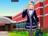 Любимица всех девочек Барби отправилась в колледж. В колледже она должна выглядеть строго, но при этом стильно. Помоги подобрать Барби одежду для колледжа, создав образ прилежной ученицы.