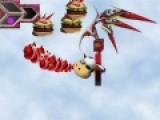 В этой игре Вам предстоит управлять летающим персонажем, который должен отбить атаку еды. Красочная леталка стрелялка перенесет Вас совершенно в другой мир. Управление персонажем в этом мире осуществляется при помощи стрелок, а кнопки A, S, D и Z, X, C активируют секретное оружие, которое поможет Вам одержать победу над атакой гамбургеров.