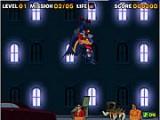 Плохие парни захватили мирных жителей города. Помогите Бэтмену освободить заложников, спускаясь с небоскреба вниз на веревке.
