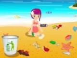 Помоги маленькой девочке навести уборку на летнем пляже. Кто- то там сильно намусорил. Собери весь мусор в корзину, а грушки в ведерко, что бы пляж стал чистым и красивым.