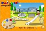 Читай подсказки и раскрашивай предметы на детской площадке нужным цветом.