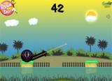 В этой Бакуган игре Вы руководствуетесь стрелкой движения шарика и чем больше Вы удлиняете стрелку тем сильнее получается прыжок.  Вам надо так рассчитать угол и силу полета шарика, чтобы попасть на другой островок.
