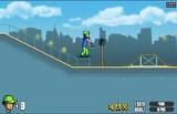 Красивый уличный скейтбординг. Чтобы ехать, жмите клавишу Вверх. В воздухе можно собирать монетки и исполнять трюки (клавиша C).
