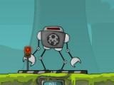 Управляя роботом уничтожь все атакующие тарелки и собери необходимые запчасти.