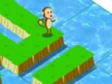Обезьянка любит кокосы. Помоги ей перебраться через море с акулами к пальме со вкусными орехами. Для этого тебе нужно построить из кусочков земли настоящий переход через море.
