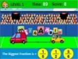 Ты любишь математику и математические игры, тогда тебе понравится и эта игра про дроби. Что бы пройти уровень и победить, ты должен из дробей выбирать самую большую. Если ты выбрал дробь правильно, то твой автомобиль сдвинется вправо, если не правильно - то влево.