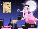 Чародейка отправилась на ночную прогулку на метле по городу. Даже в темное время суток ей хочется выглядеть красиво и стильно. Помоги ей подобрать подходящий наряд и нужные заклинания во время полета!