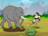 Обычно слоны добрые и уравновешенные животные. Но этот слон сбесился и пытается догнать своего хозяина. Помоги человеку убежать от разъяренного животного. Для этого как можно чаще нажимай левой кнопкой мыши по указанному месту на игровом поле.