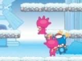 Твоему герою предстоит очистить зимний сад от монстров. Помоги ему в этом не легком деле. Закидай монстриков снежками, нажимая на пробел, и столкни снежный ком на остальных монстров. Управляй движением героя при помощи стрелок на твоей клавиатуре.